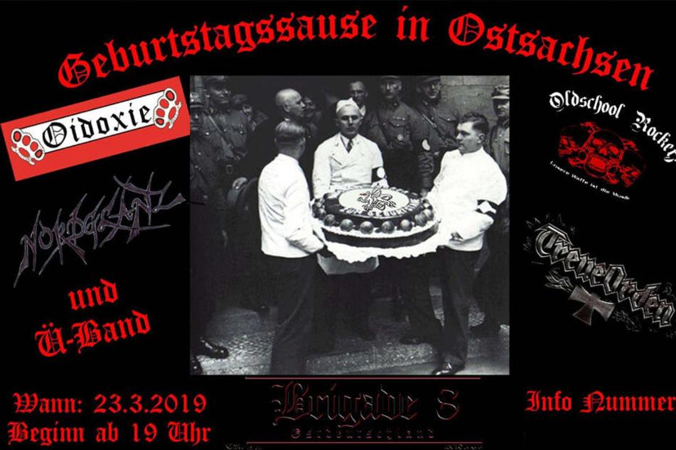 Mit diesem Flyer wurde zu dem Treffen geladen, der Drache auf der Torte ist seit 2012 Logo der militanten Nazi-Gruppe.