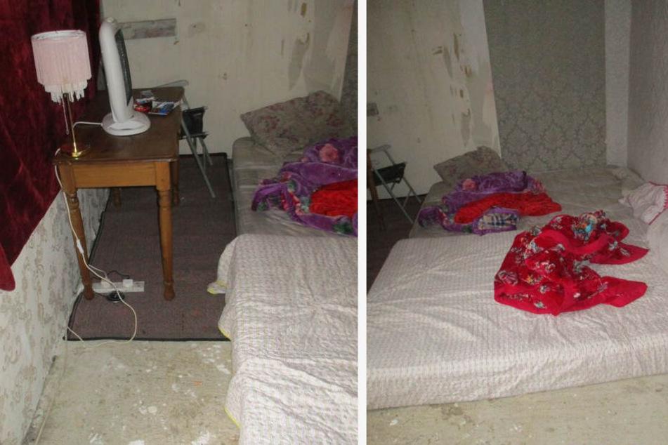 Hier sollen mindestens zwei Menschen auf Matratzen auf dem Boden geschlafen haben.