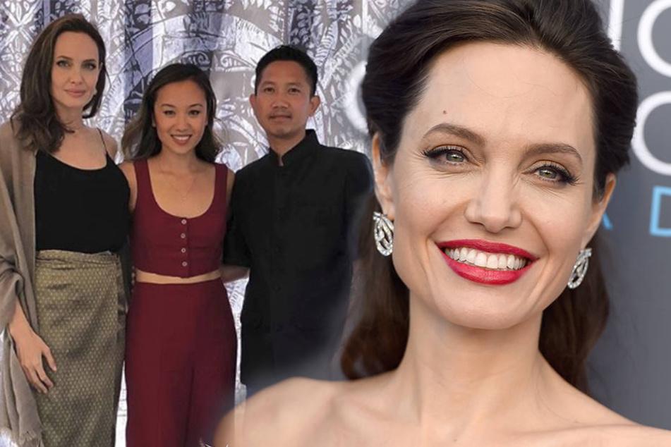 Angelina Jolie (li.) mit den kambodschanischen Künstlern Ellen Wong und PraCH Ly.