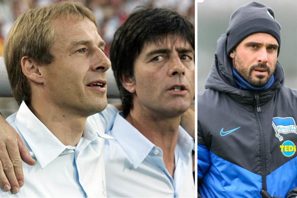 Jürgen Klinsmann (l) wurde einst von Joachim Löw (m) als Bundestrainer abgelöst. Bei Hertha BSC wird Alexander Nouri (r) vorerst sein Nachfolger.