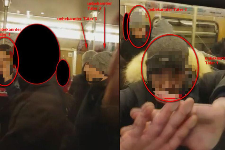 Mit diesen Bildern fahndet die Polizei nach den U-Bahn-Schlägern.
