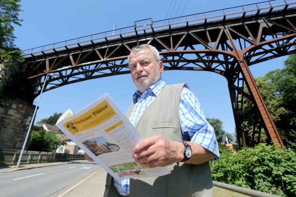Gottfried Reuther (79) hofft, dass die Schmiererei am Rabensteiner Viadukt bis Oktober verschwunden ist. Dann feiert das Bauwerk seinen 120. Geburtstag.