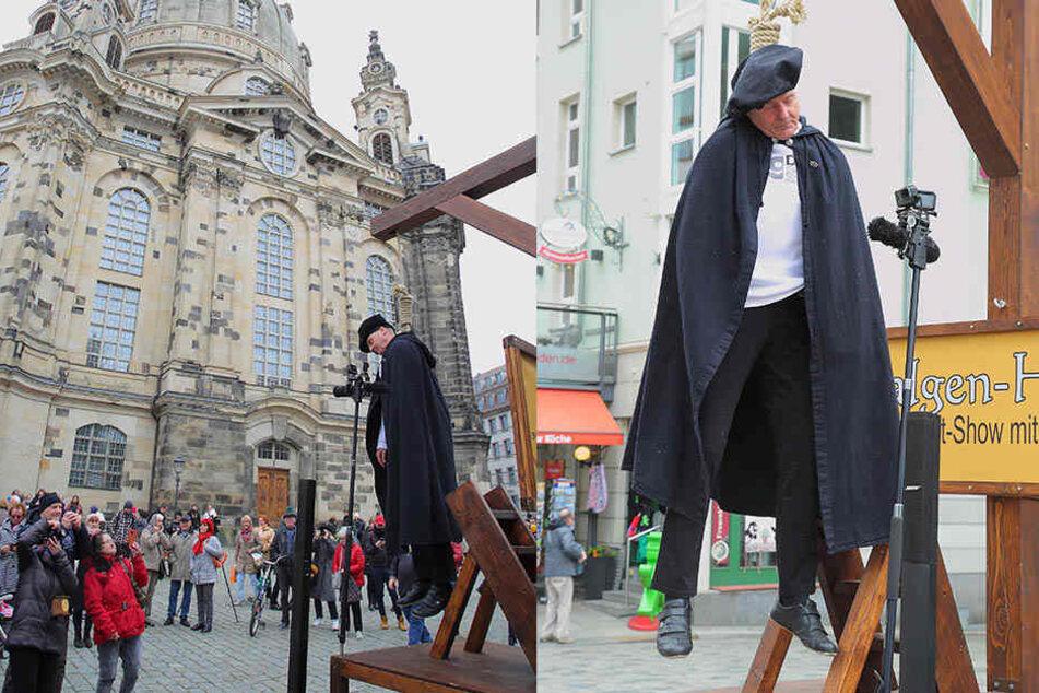 Frauenkirche sauer: DDR-Star hängt sich an Neumarkt an den Galgen