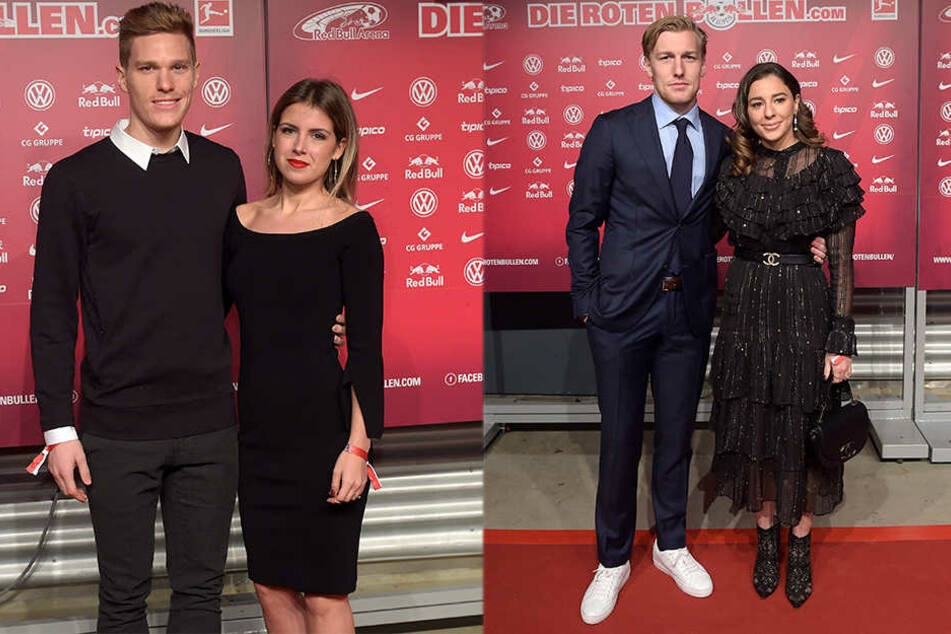 Marcel Halstenberg (26) kam mit seiner Frau Franziska, Schweden-Kicker Emil Forsberg (26) brachte seine Ehefrau Shanga (25) mit, die ebenfalls für RB Leipzig auf dem Platz steht.