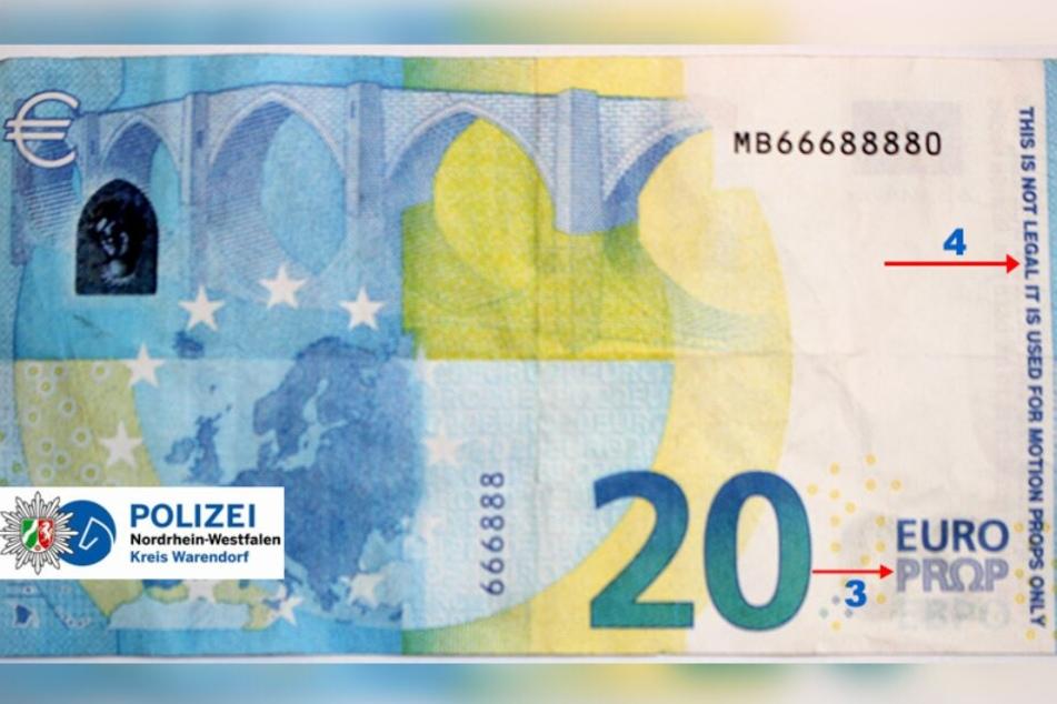 Auch dieser 20-Euro-Schein ist gefälscht.