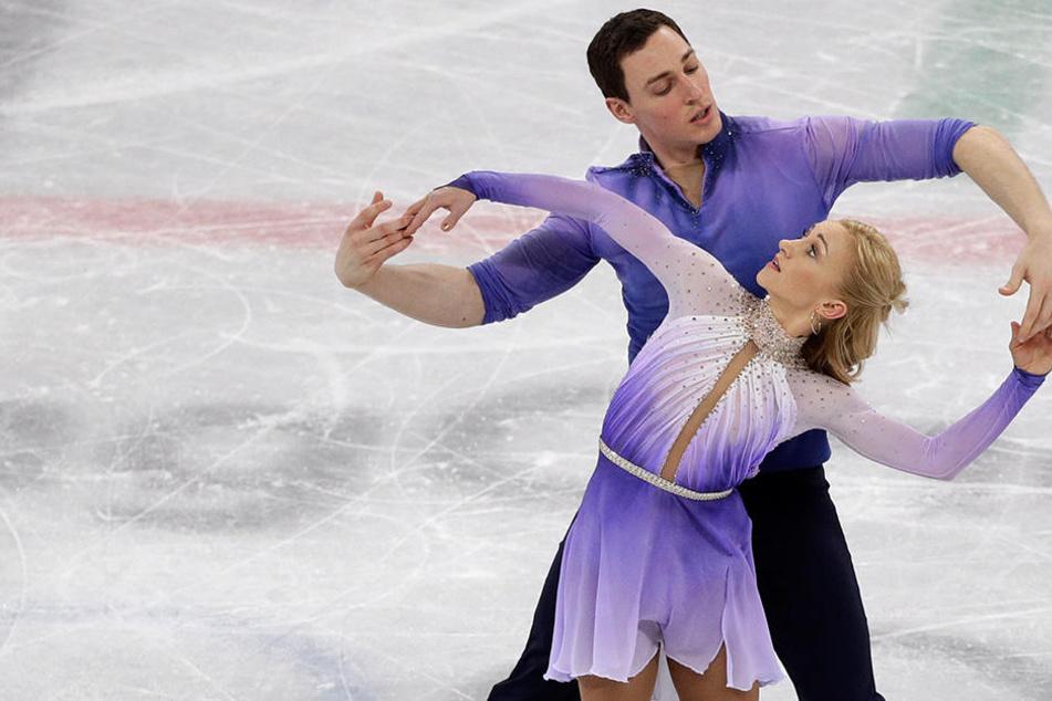 Das Eiskunstlaufpaar bei seiner Gold-Kür in Pyeongchang.