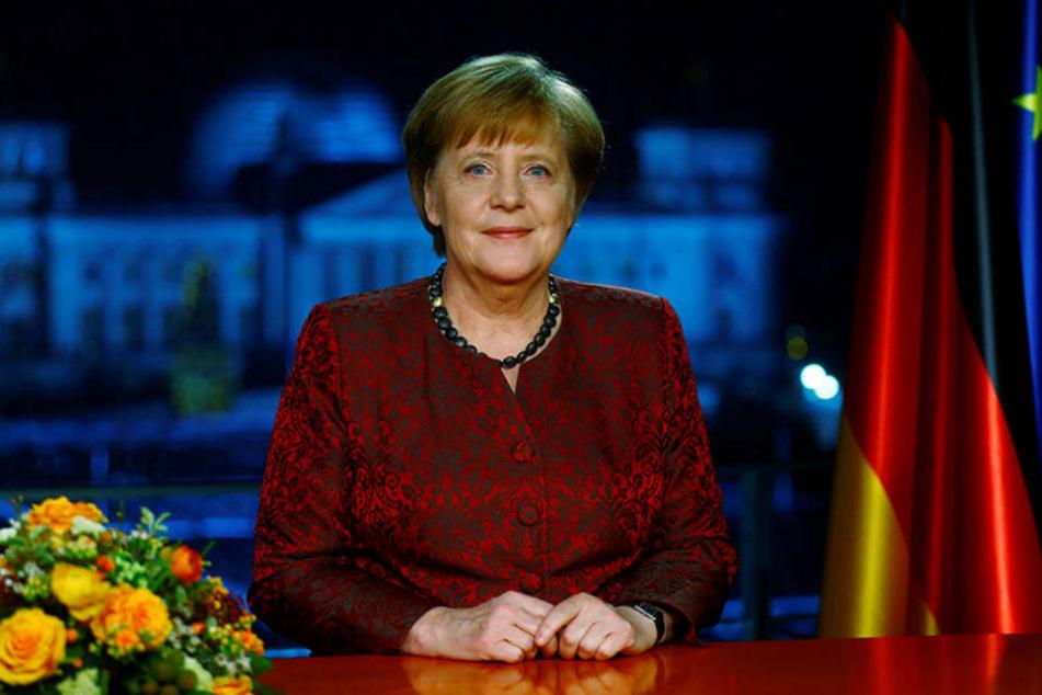 Bundeskanzlerin Angela Merkel (CDU) bei ihrer Neujahrsansprache im Kanzleramt.
