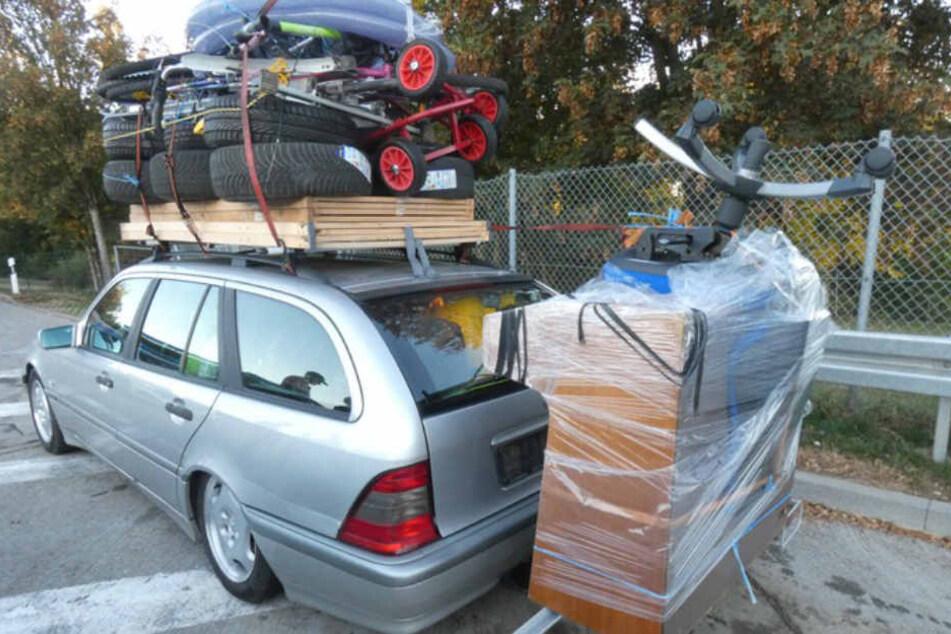 Der Mercedes war mit knapp 400 Kilogramm überladen.