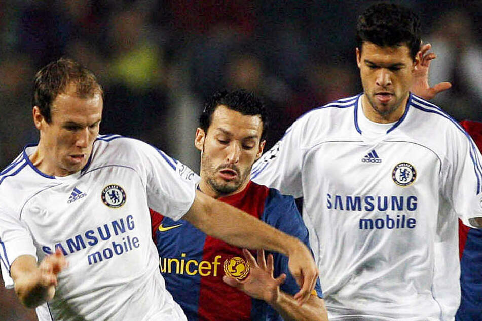 Arjen Robben (l.) spielte beim FC Chelsea erfolgreich mit Michael Ballack (r.) zusammen.