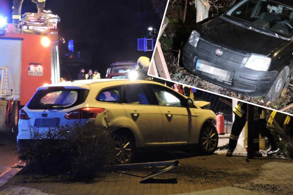 Fiat Panda in Vorgarten geschleudert: Zwei Frauen bei Unfall schwer verletzt