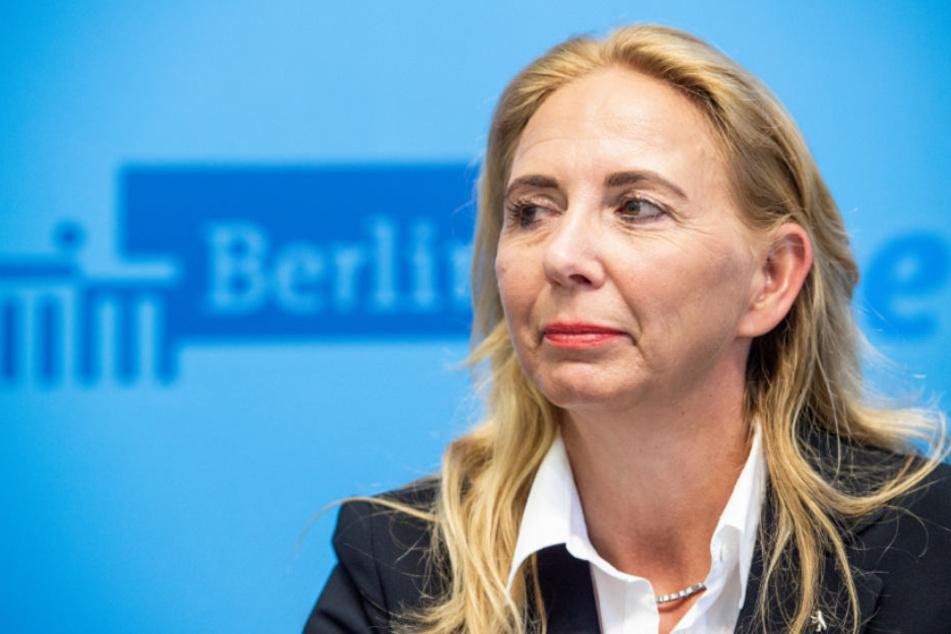 Barbara Slowik, Berlins neue Polizeipräsidentin, gibt eine Pressekonferenz.