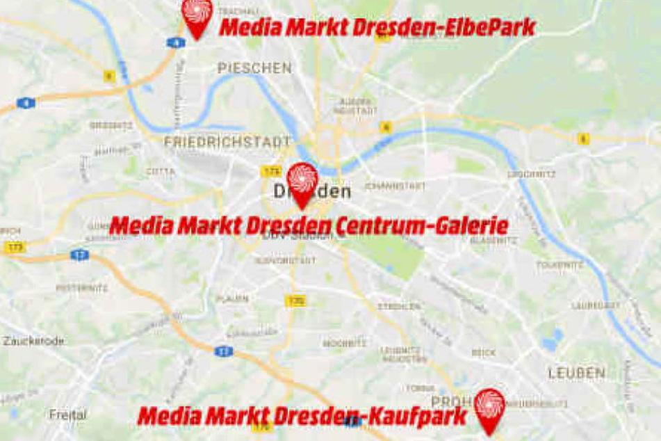 In Dresden gibt es insgesamt drei Media Märkte.