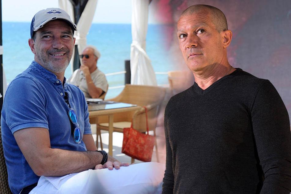 So charmant wie auf dem Foto links kennen wir Antonio Banderas. rechts ist er mit seinem aktuellen Look zu sehen.