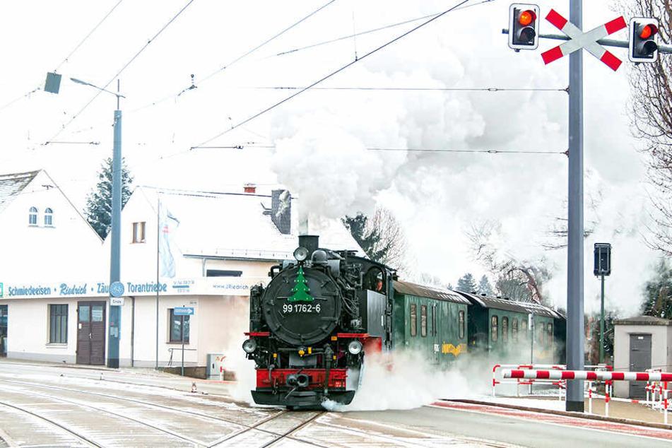 Die Lößnitzgrundbahn wurden zum Polizei-Einsatzort.