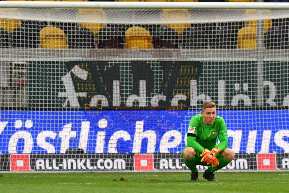 Dynamo-Keeper Kevin Broll nach dem Abpfiff gegen Bochum. Das 1:2 hat er verdaut. Am Freitag will er seine Kiste sauber halten - wie zuletzt in Heidenheim und auf St. Pauli.