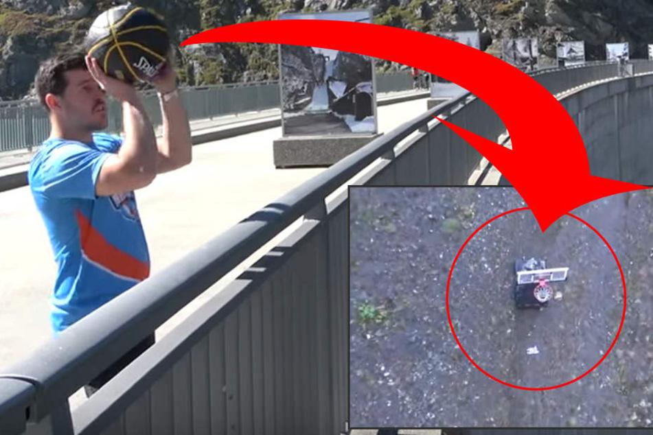 Weltrekord! Dieser Typ trifft gleich aus 180 Metern Höhe einen Korb