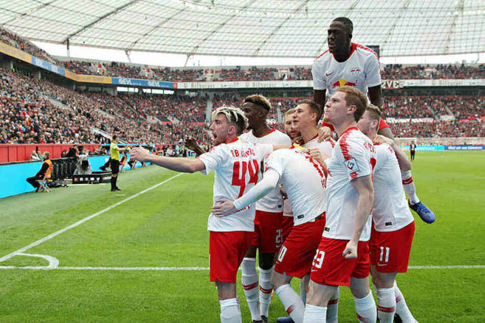 Der Jubel nach dem Treffer zum 3:2 für RB Leipzig nach umstrittenem Handelfmeter.