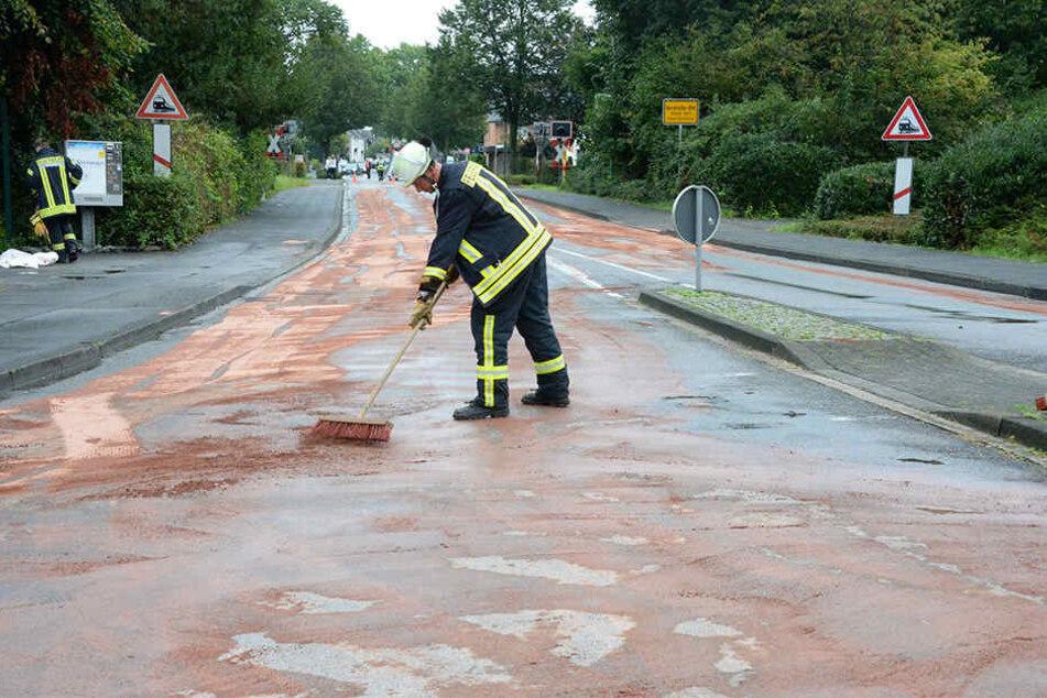 Eine große Ölspur musste von der Feuerwehr beseitigt werden.