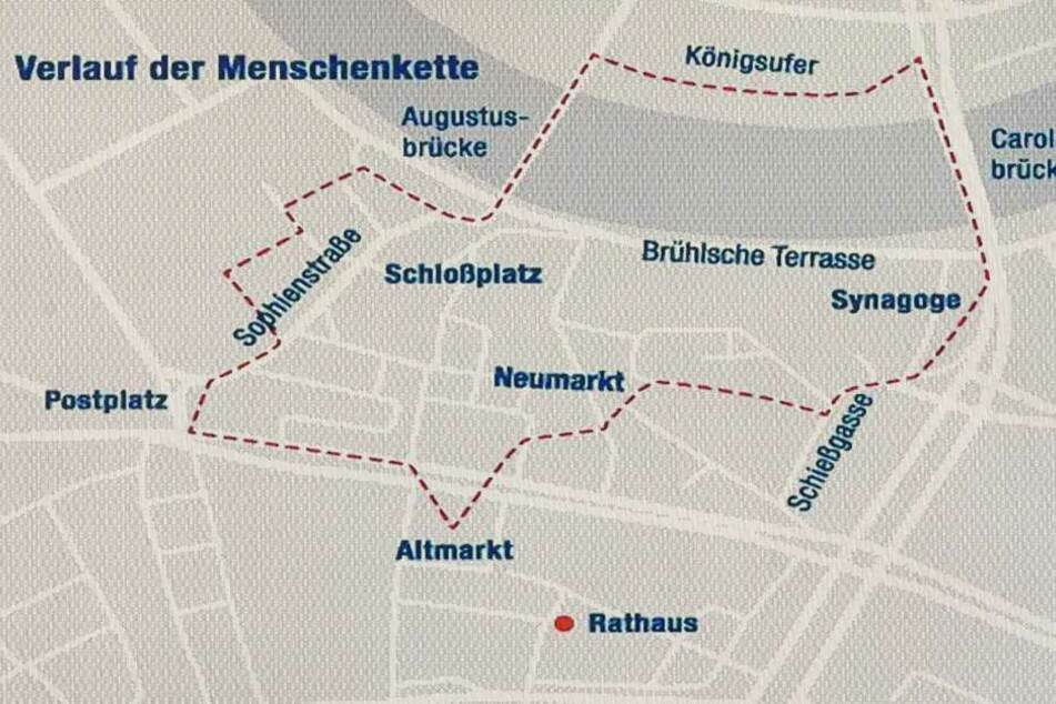 Vom Königsufer bis zum Altmarkt: Die Menschenkette soll die ganze Dresdner  Innenstadt umschließen.