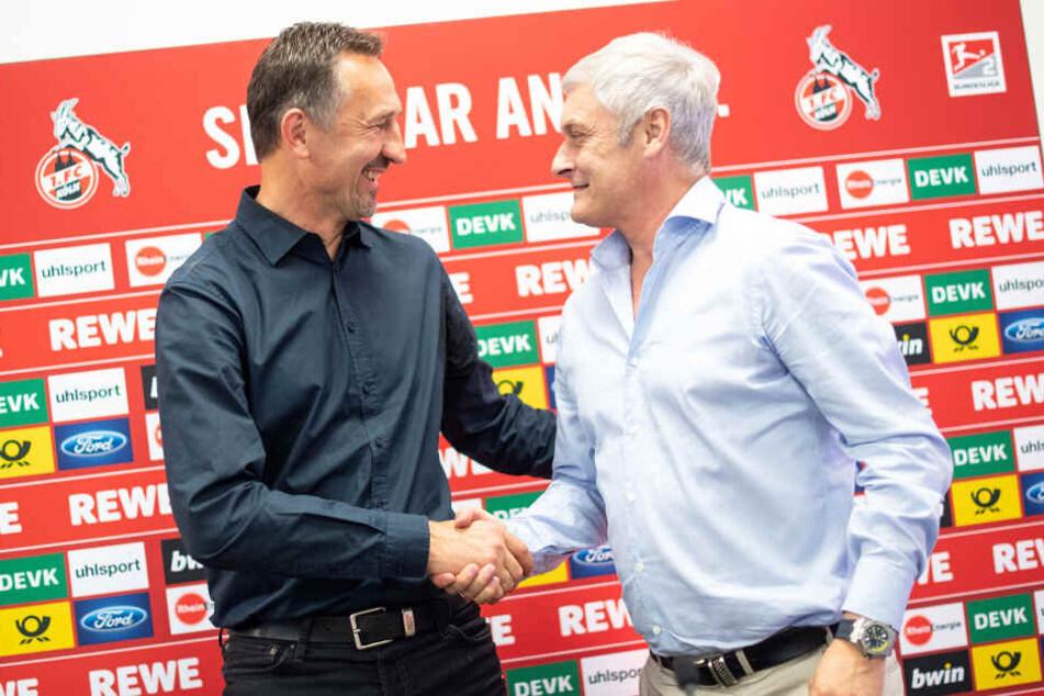 Achim Beierlorzer (51) und Armin Veh (58) zeigten sich am Donnerstagmittag gut gelaunt im Geißbockheim.