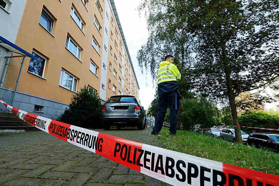 Stundenlang suchten die Ermittler am Montag nach Spuren am Tatort im  Heckertgebiet.