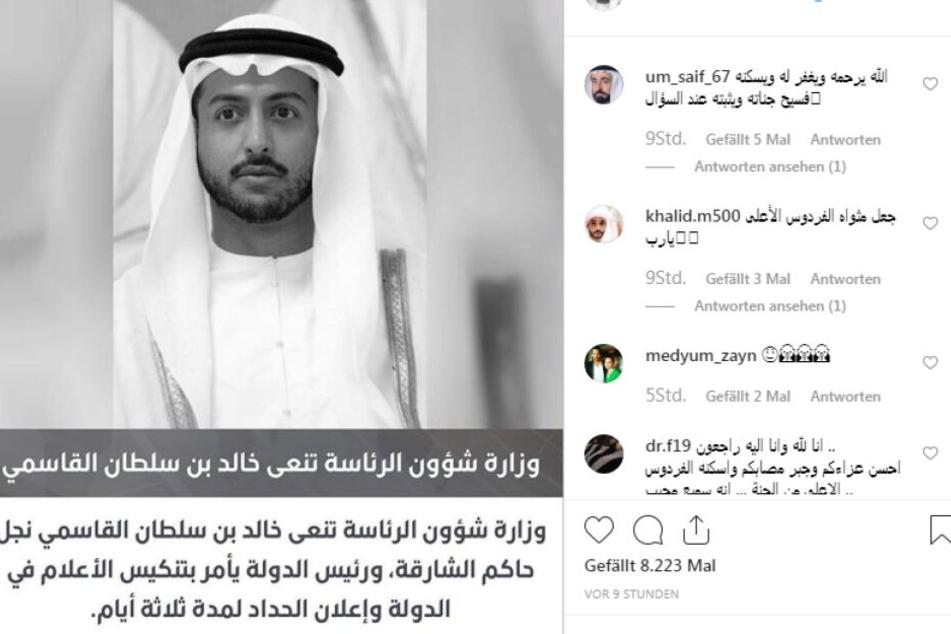 Scheich Khalid bin Sultan Al Qasimi verstarb im Alter von 39 Jahren.