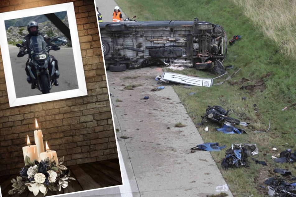 Die ASG Ambulanz Leipzig trauert um ihren Kollegen Thomas D., der bei dem tragischen Unfall am Freitag auf der A9 ums Leben kam. (Montage)