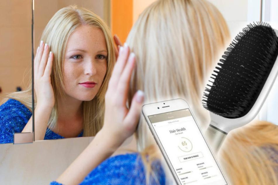 Die High-Tech-Bürste kann Haarbruch oder Spliss erkennen...
