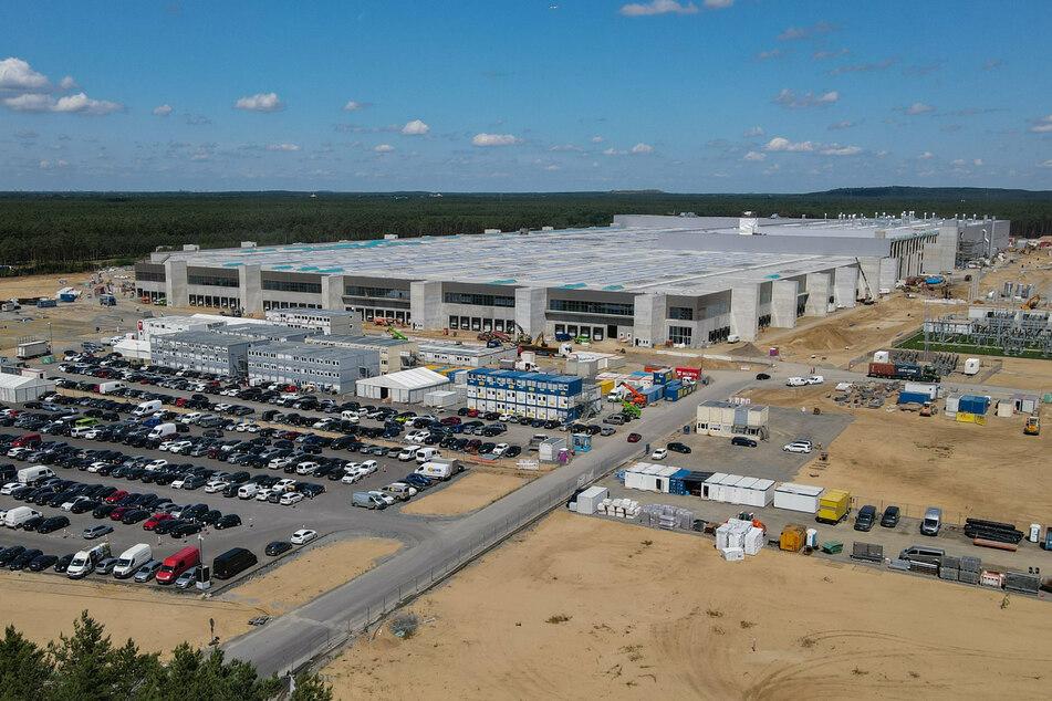 Das Baugelände der Tesla-Autofabrik östlich von Berlin. Es ist die erste Tesla-Fabrik in Europa.