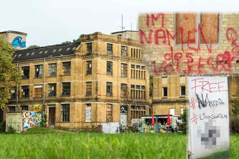 Fabrikgebäude mit Nazi-Schmierereien übersät