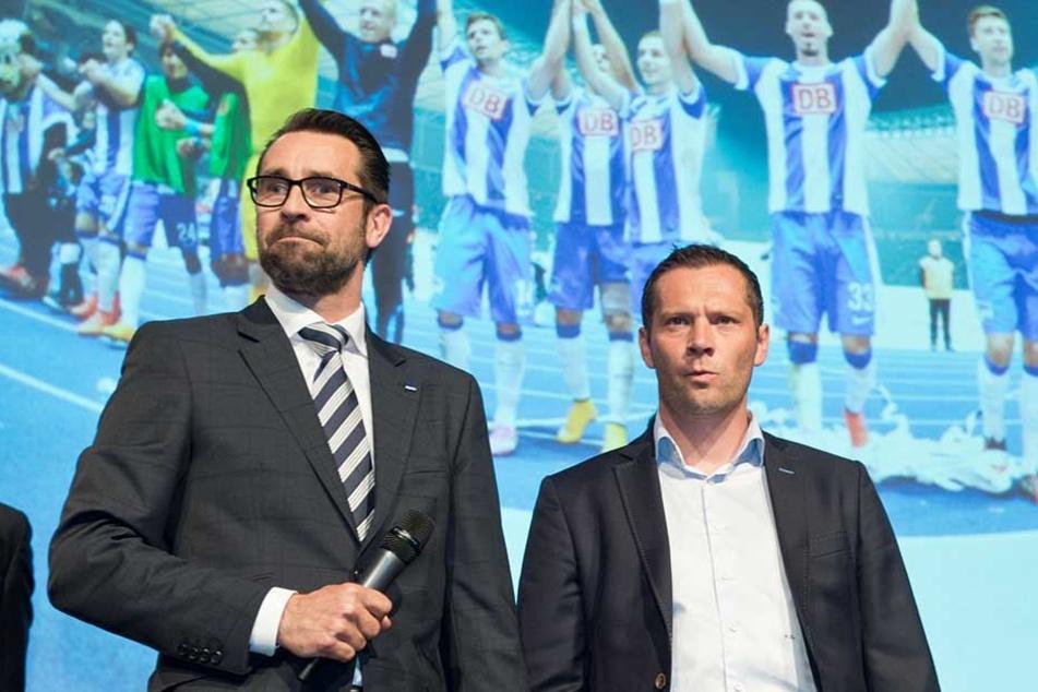Hertha-Manager Michael Preetz und Trainer Pal Dardai (re.) haben sich für 2018 einiges vorgenommen.