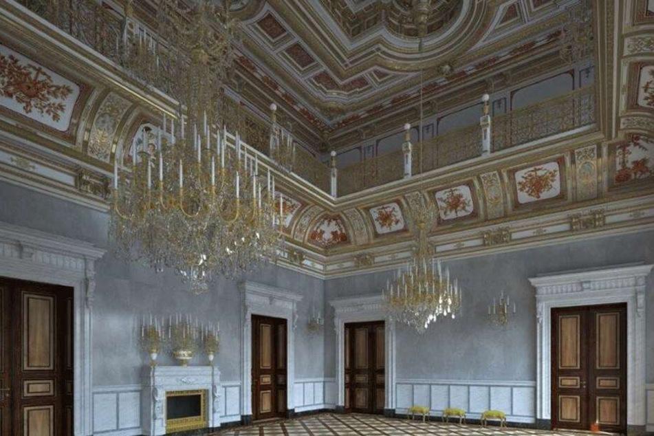 So soll der fertige Kleine Ballsaal aussehen. Kommenden Sonnabend haben die Dresdner Gelegenheit, ihn zu bestaunen.