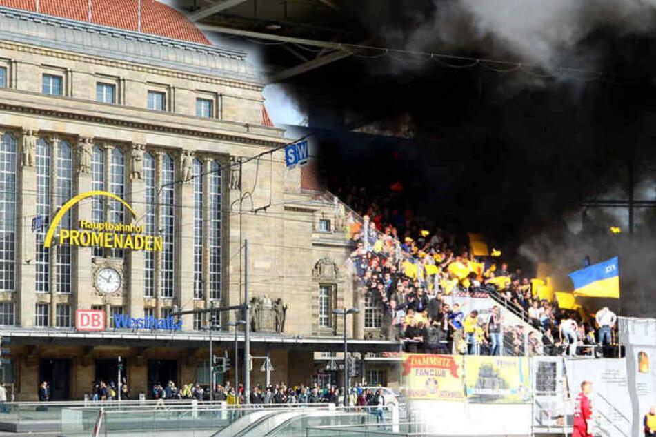 Wegen randalierender Fußball-Fans musste die Polizei zum Leipziger Hauptbahnhof ausrücken. (Fotomontage)