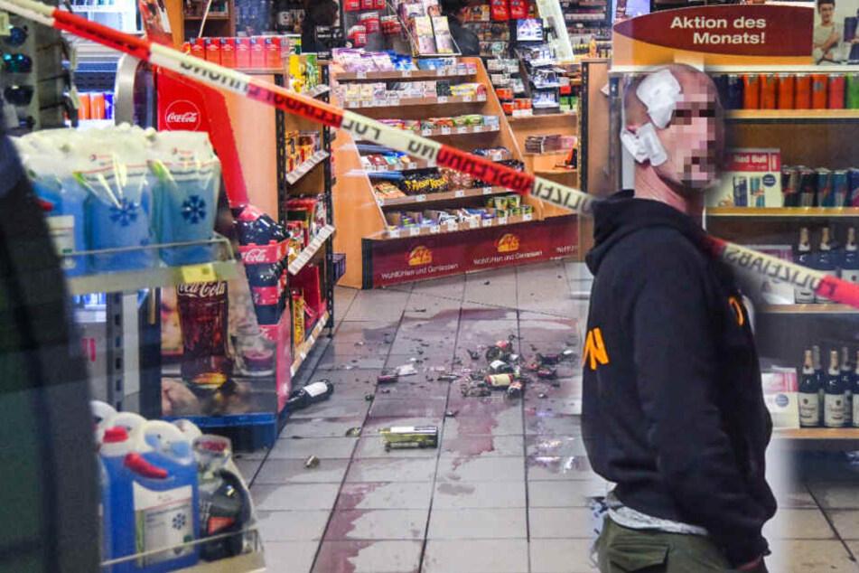 Der verletzte Polizist am Tatort. Wer weiß, was ohne ihn noch passiert wäre! (Bildcollage)