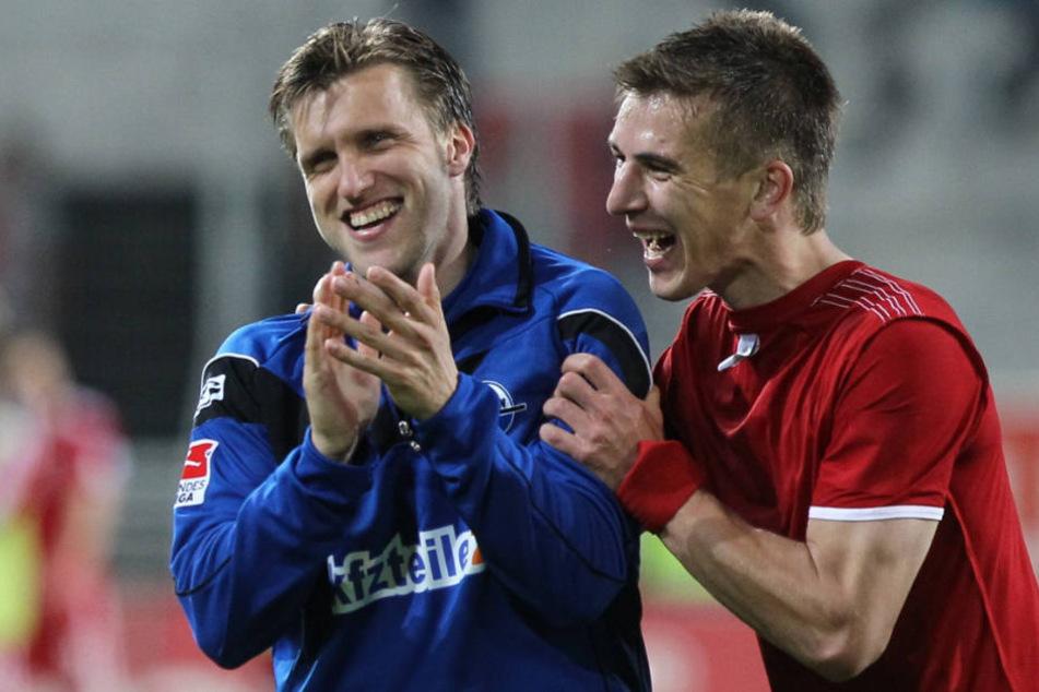 Zusammen sind Krösche (l.) und Hünemeier als Spieler in der Saison 2013/14 in die erste Liga aufgestiegen.