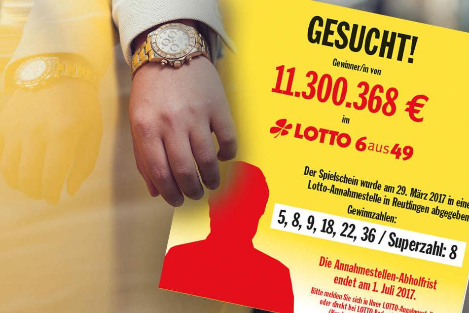 Mit diesem Plakat sucht die Lotto-Gesellschaft den glücklichen Gewinner von über 11 Millionen Euro.