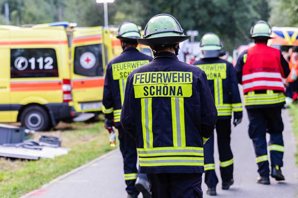 Auch Einsatzkräfte der Feuerwehr Schöna waren in die Rettungsübung unter Leitung der Landesdirektion Sachsen eingebunden.