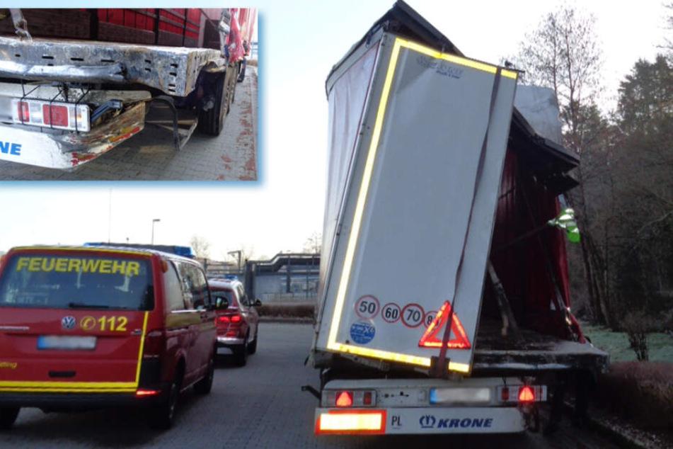 Nach Unfall: Laster fährt mit total kaputtem Anhänger quer durch Deutschland