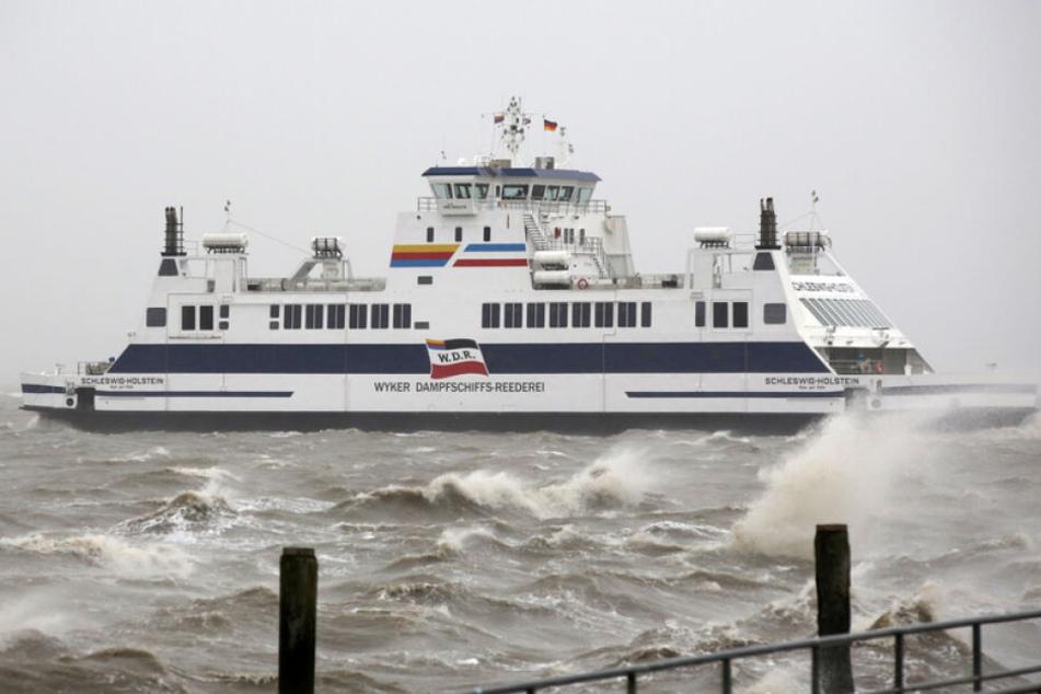 """Die Fähre """"Schleswig-Holstein"""" verlässt am Mittag als letzte heutige Fährverbindung den Hafen von Dagebüll nach Föhr"""