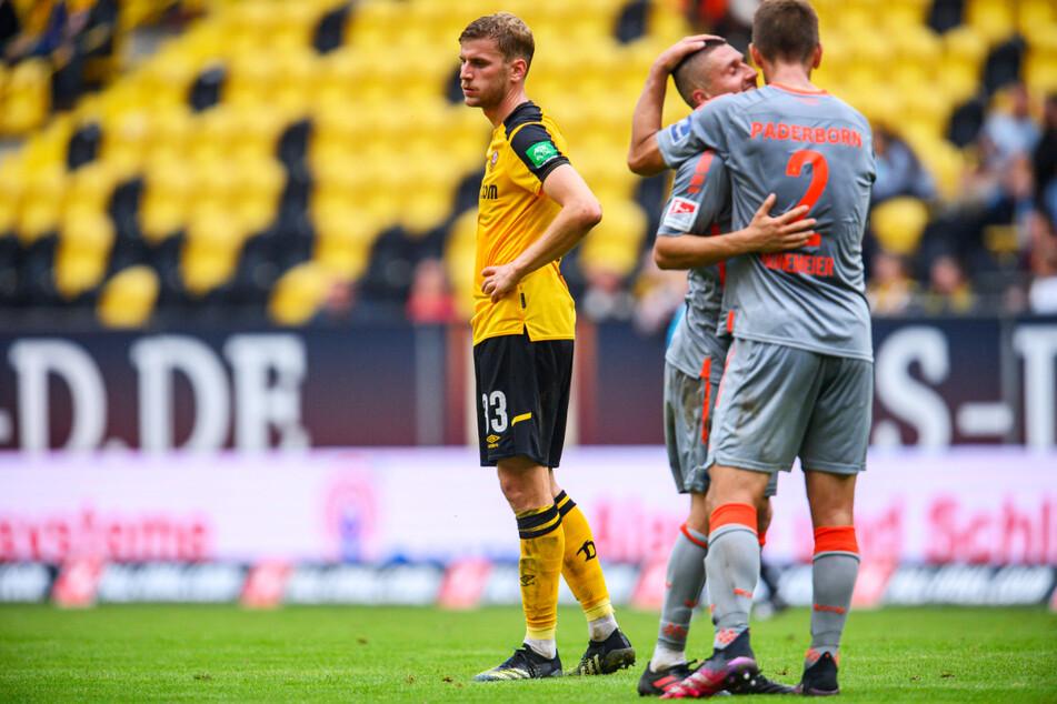 Ein niedergeschlagener Christoph Daferner (23, l.). Während der SC Paderborn jubelte, verlor Dynamo erstmals in dieser Saison - und zwar deutlich.