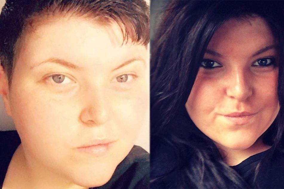 Helzie Amnell-Connor (24) ohne und mit Perücke.