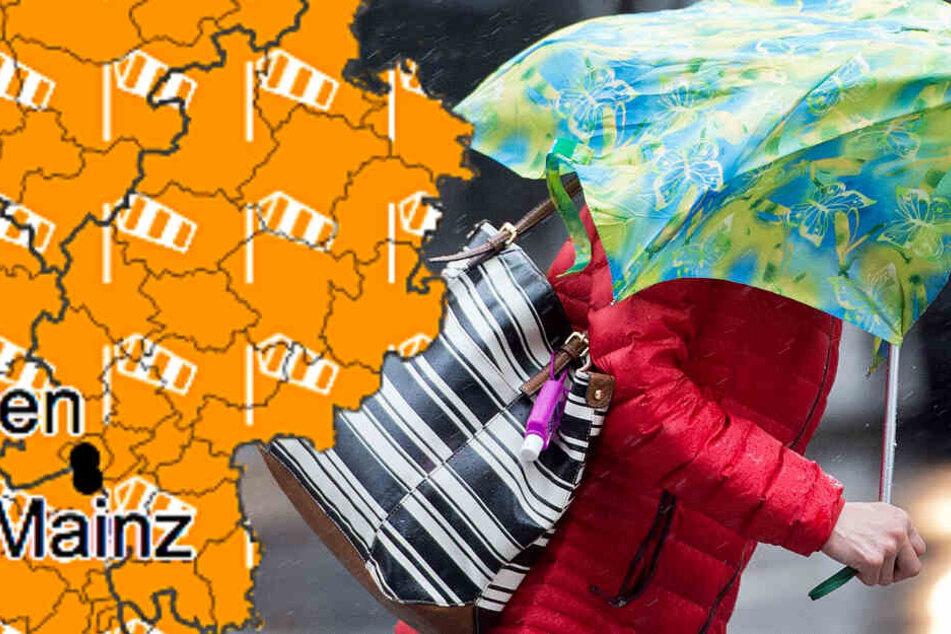 Am Sonntag muss in Hessen mit Regen und sogar mit orkanartigen Böen gerechnet werden.