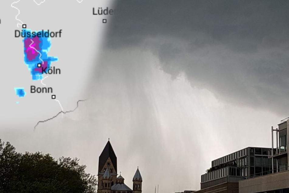 Schwere Unwetter über Köln und Düsseldorf - 40 Blitze am Stadion