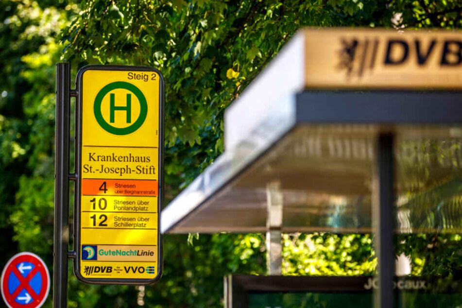 Betroffen waren DVB-Haltestellen der Straßenbahnlinie 4.