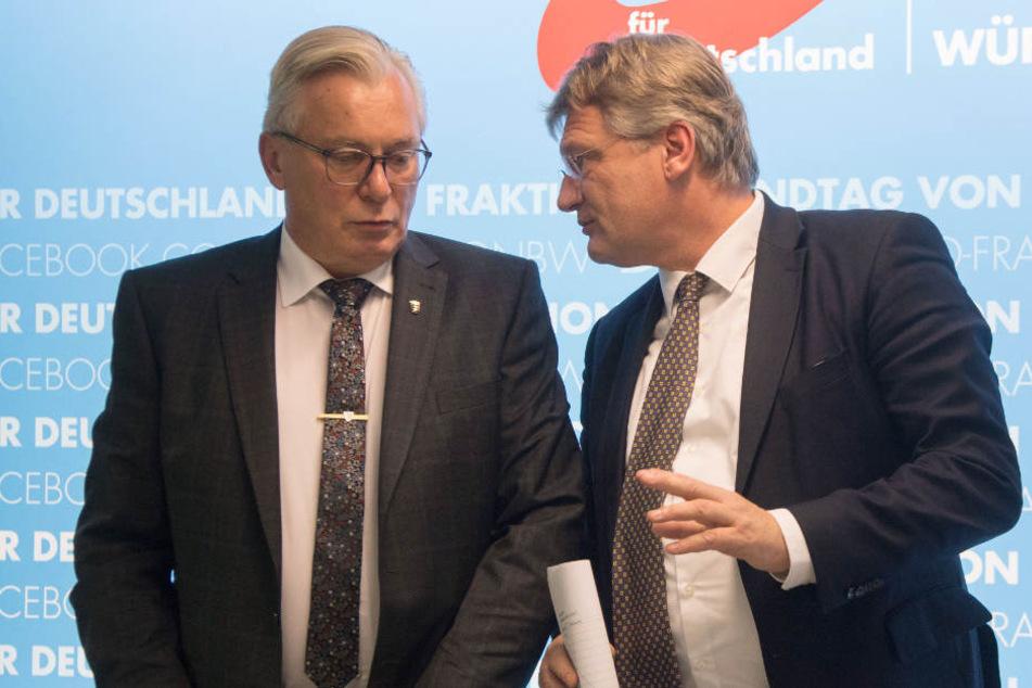 Zürcher ist Mitarbeiterin von Bernd Gögel (links), dem Nachfolger von Jörg Meuthen (rechts).