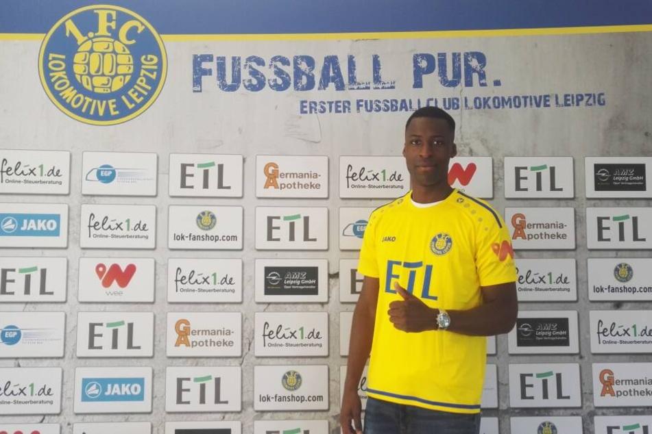 Mittelstürmer Stephané Mvibudulu (26) ist der zweite Neuzugang beim 1. FC Lok Leipzig.
