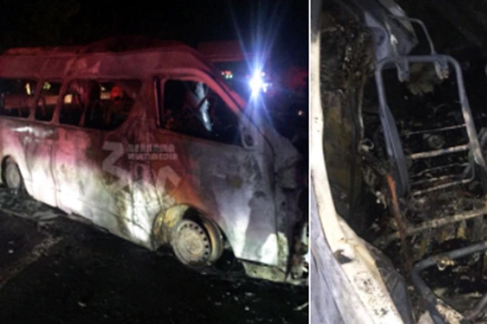 Der Fahrer schlief ein! 14 Menschen verbrennen in Kleinbus