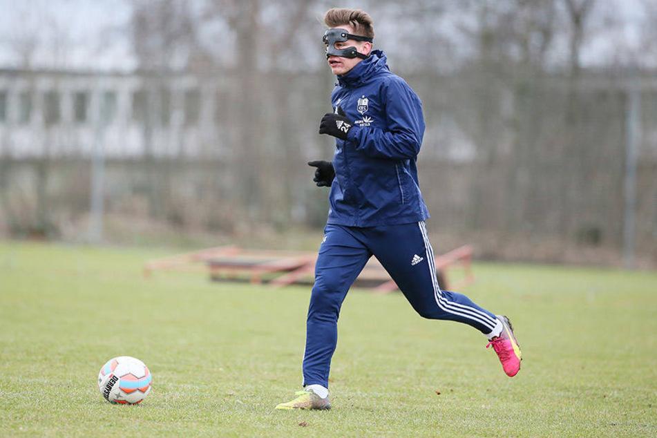 Florian Hansch trainierte zuletzt mit Maske. Gegen Köln verzichtet er auf den Gesichtsschutz.