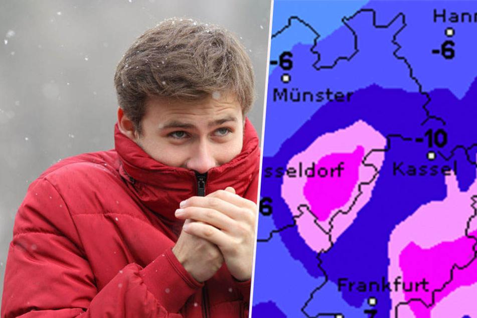 Die Tiefstwerte in NRW liegen nachts bei eiskalten -5 bis -10 Grad.