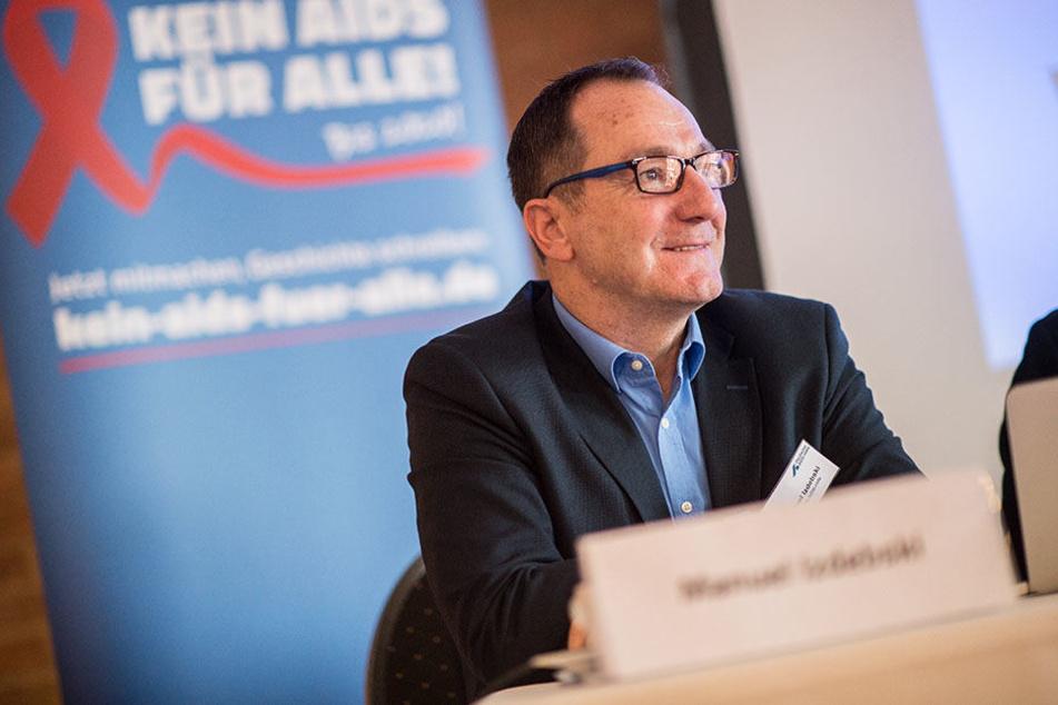 Manuel Izdebski, Geschäftsführer der Deutschen Aids Hilfe stellt die neue Kampagne in Berlin vor.